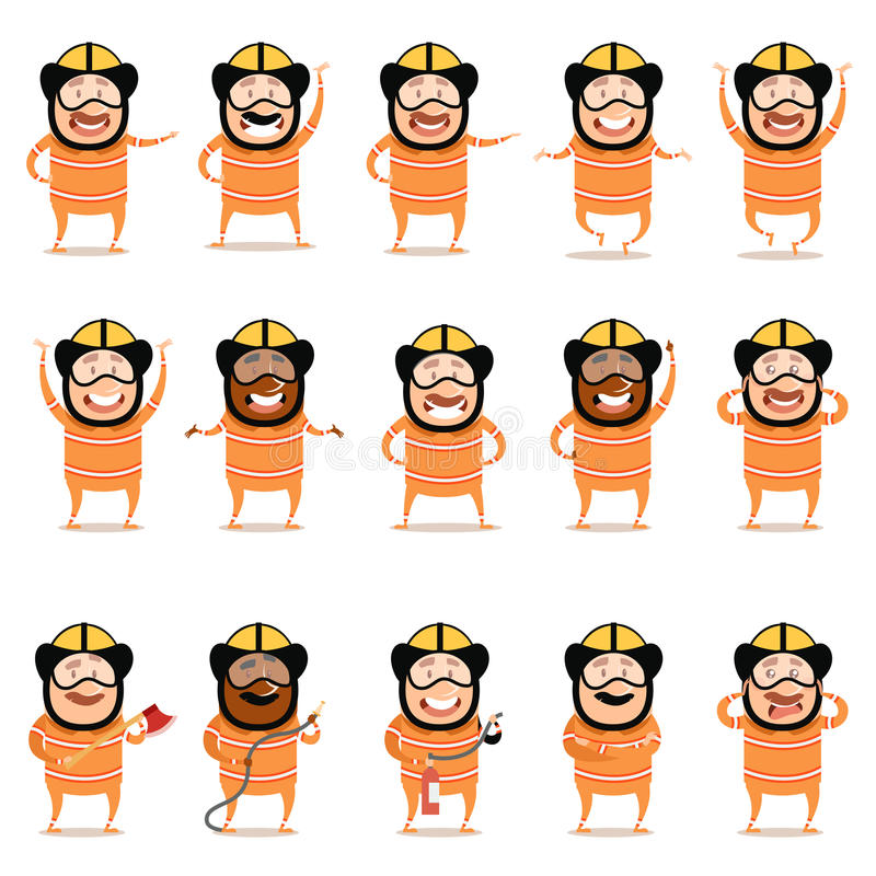 Grupo de ícones lisos do personagem de banda desenhada dos bombeiros ilustração do vetor