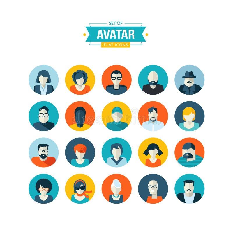 Grupo de ícones lisos do projeto do avatar ilustração do vetor