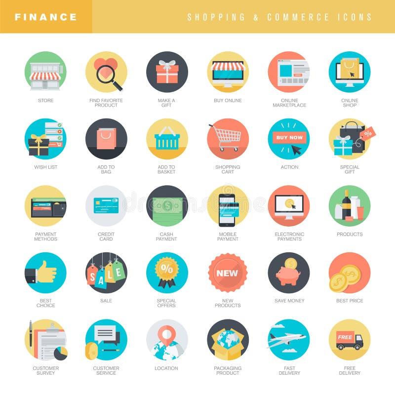 Grupo de ícones lisos do projeto para a compra e o comércio eletrônico em linha