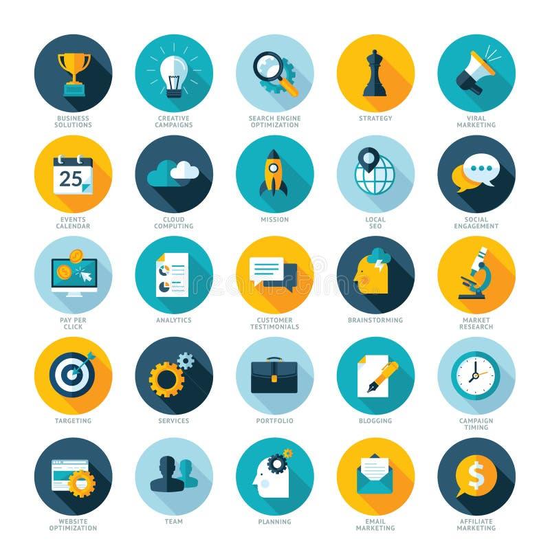 Grupo de ícones lisos do projeto para o negócio, o SEO e o Soc ilustração royalty free