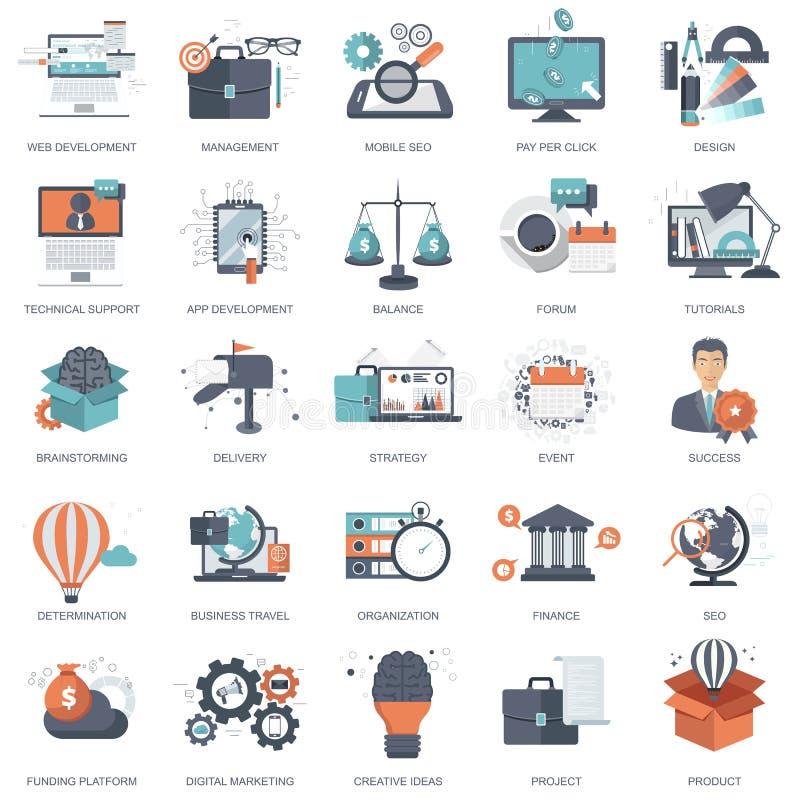 Grupo de ícones lisos do projeto para o negócio, pagamento pelo clique, processo criativo, procurando, análise da Web, Tempo é di ilustração stock