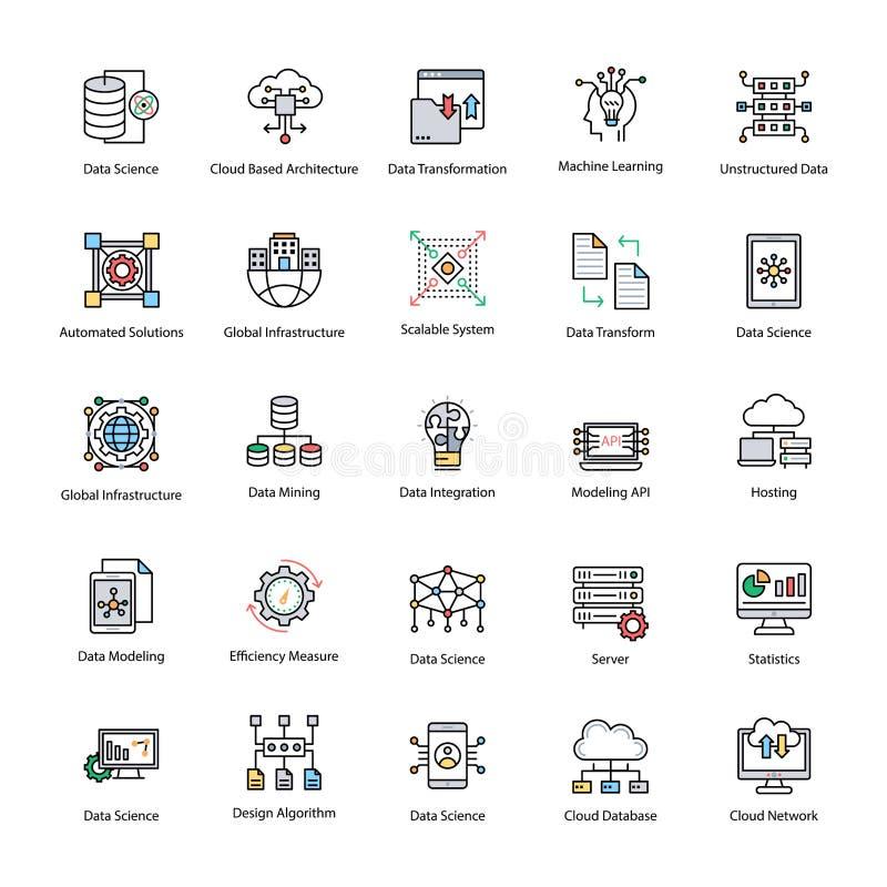 Grupo de ícones lisos do vetor da ciência dos dados ilustração stock