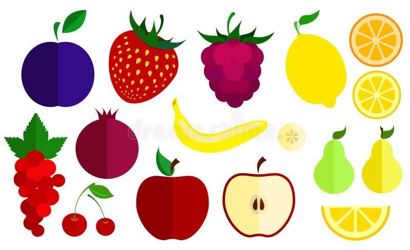 Grupo de ícones lisos do vetor das bagas e dos frutos Coleção de vários bagas e frutos ilustração do vetor