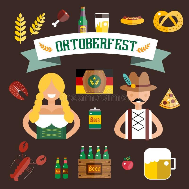 Grupo de ícones lisos do vetor de Oktoberfest Cerveja da garrafa ilustração stock