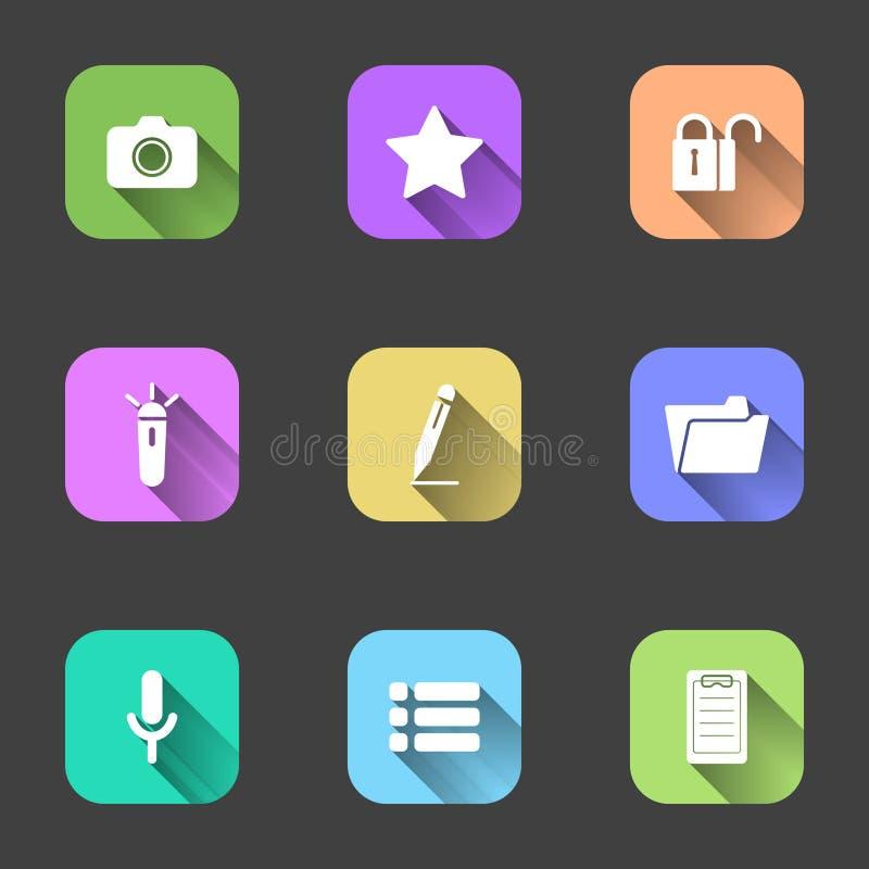 Grupo de ícones lisos em quadrados multi-coloridos para um telefone celular Ilustração do vetor em um fundo cinzento ilustração royalty free