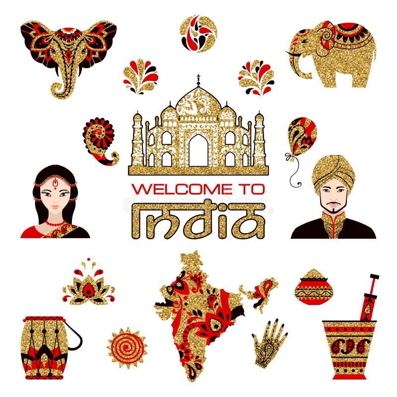 Grupo de ícones lisos indianos ilustração royalty free