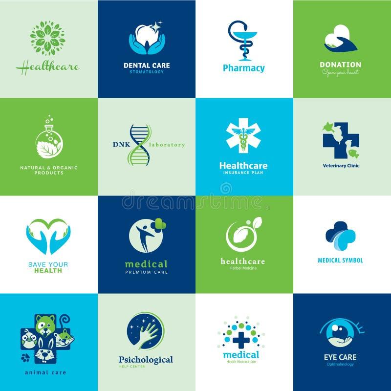 Grupo de ícones lisos médicos ilustração do vetor