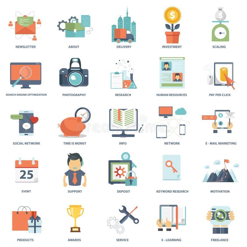 Grupo de ícones lisos modernos dos gráficos da informação de vetor do negócio do projeto ilustração stock