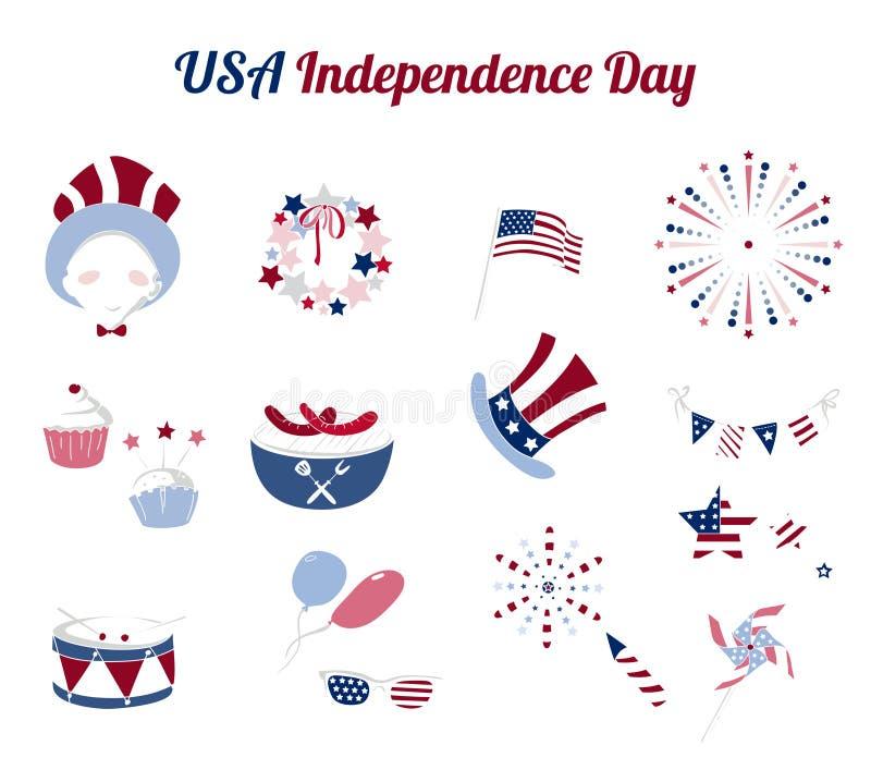 Grupo de ícones lisos para o Dia da Independência dos EUA ilustração royalty free
