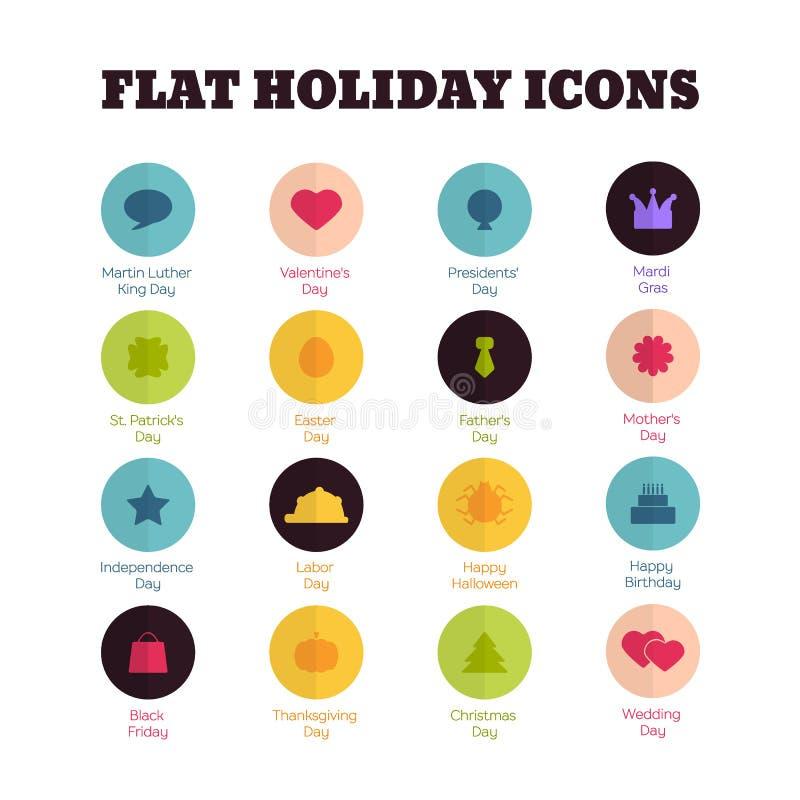 Grupo de ícones lisos por feriados nacionais principais ilustração royalty free