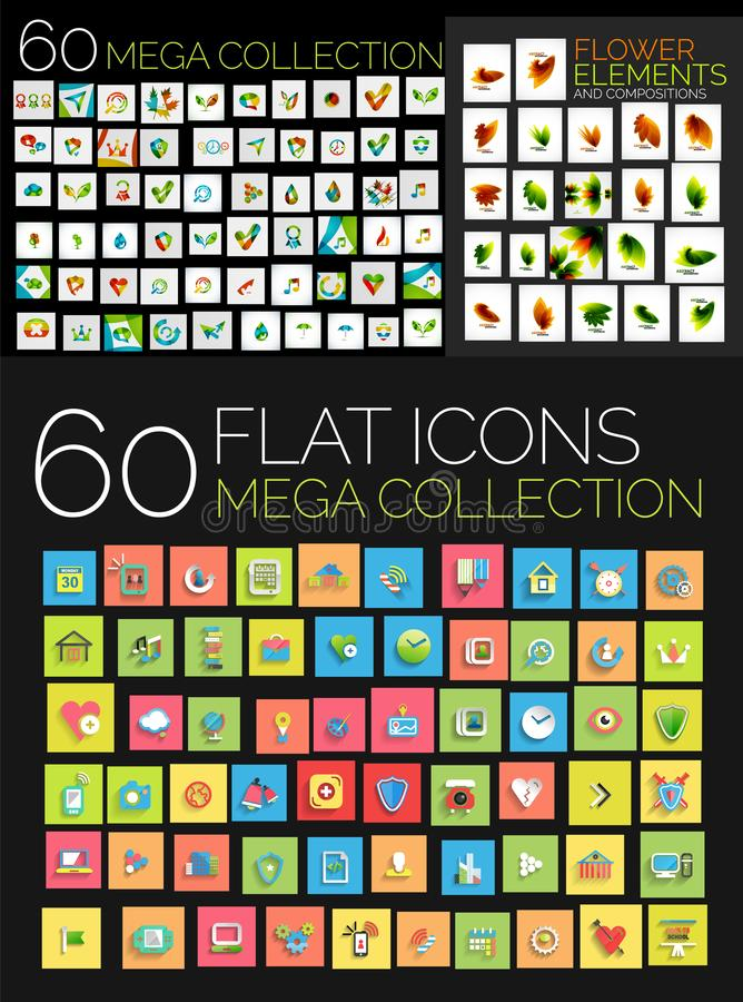 Grupo de ícones lisos quadrados da Web ilustração do vetor