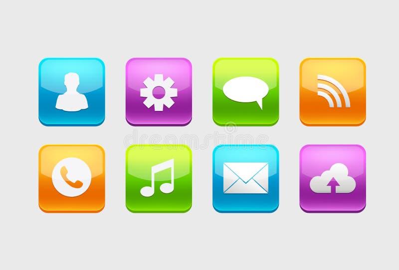 Grupo de ícones lustrosos do botão para seu projeto com símbolos diferentes ilustração royalty free
