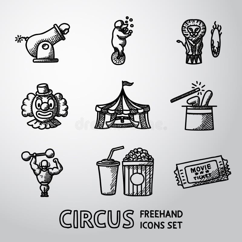Grupo de ícones a mão livre do CIRCO com - o palhaço, canhão ilustração stock