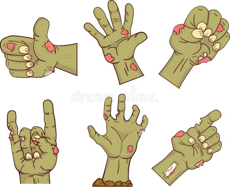 Grupo de ícones, mãos do zombi A coleção gesticula absolutamente para Dia das Bruxas Elementos engraçados do projeto dos povos da ilustração do vetor