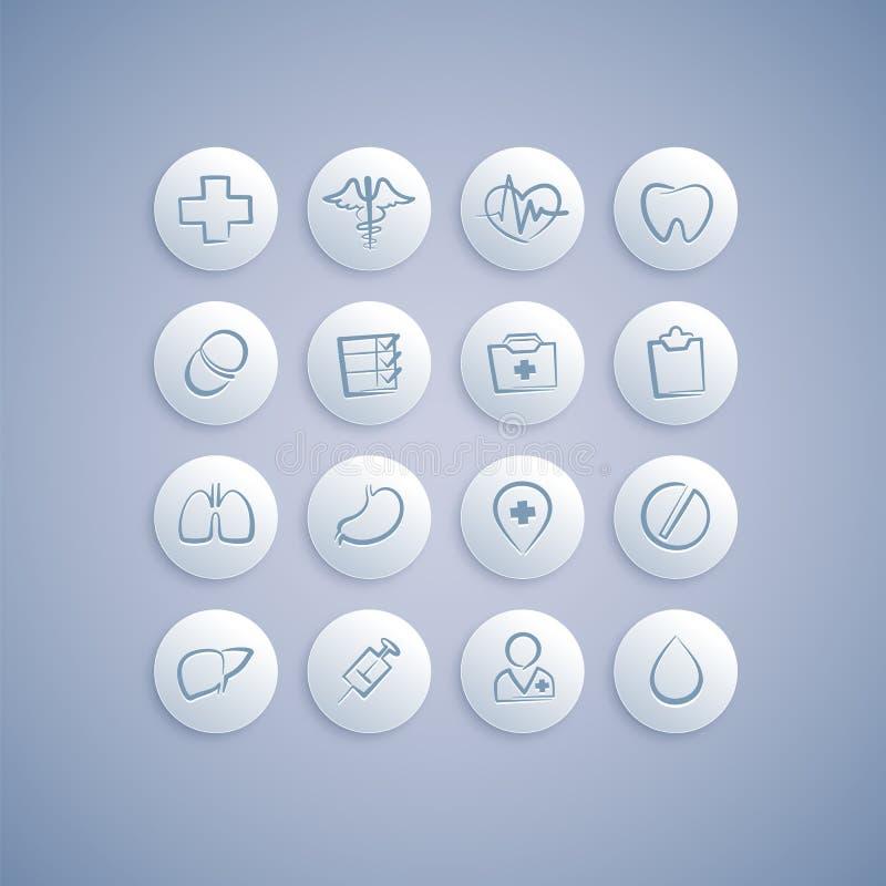 Grupo de ícones médicos em comprimidos ilustração royalty free