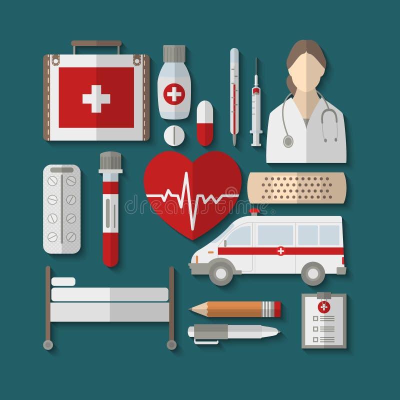 Grupo de ícones médicos lisos ilustração royalty free