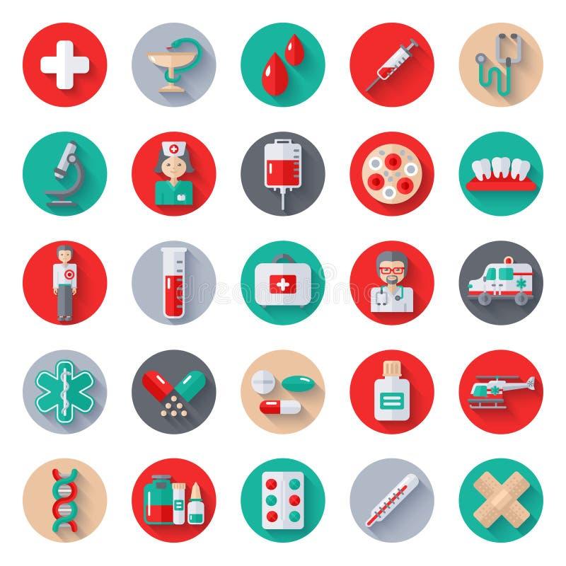 Grupo de ícones médicos lisos em círculos ilustração royalty free