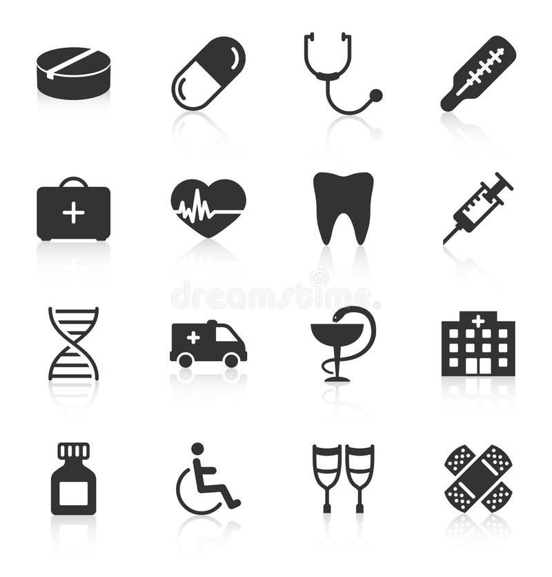 Grupo de ícones médicos no fundo branco ilustração stock