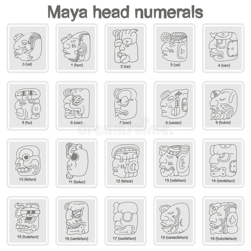 Grupo de ícones monocromáticos com glyphs dos numerais da cabeça do Maya ilustração do vetor