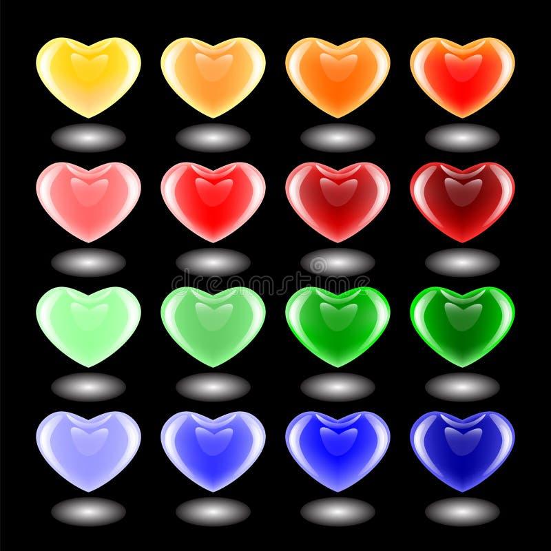 Grupo de ícones multicoloridos do coração do projeto 3d. Emblemas para o Valentim ilustração royalty free