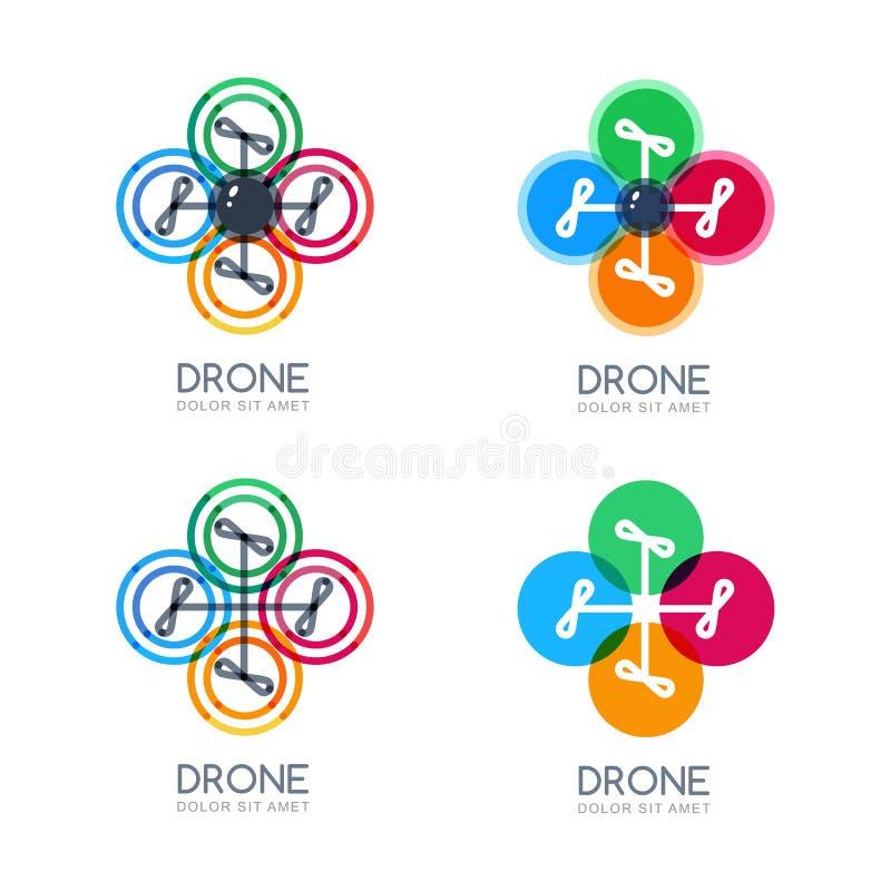 Grupo de ícones multicoloridos do zangão do voo do vetor ilustração royalty free