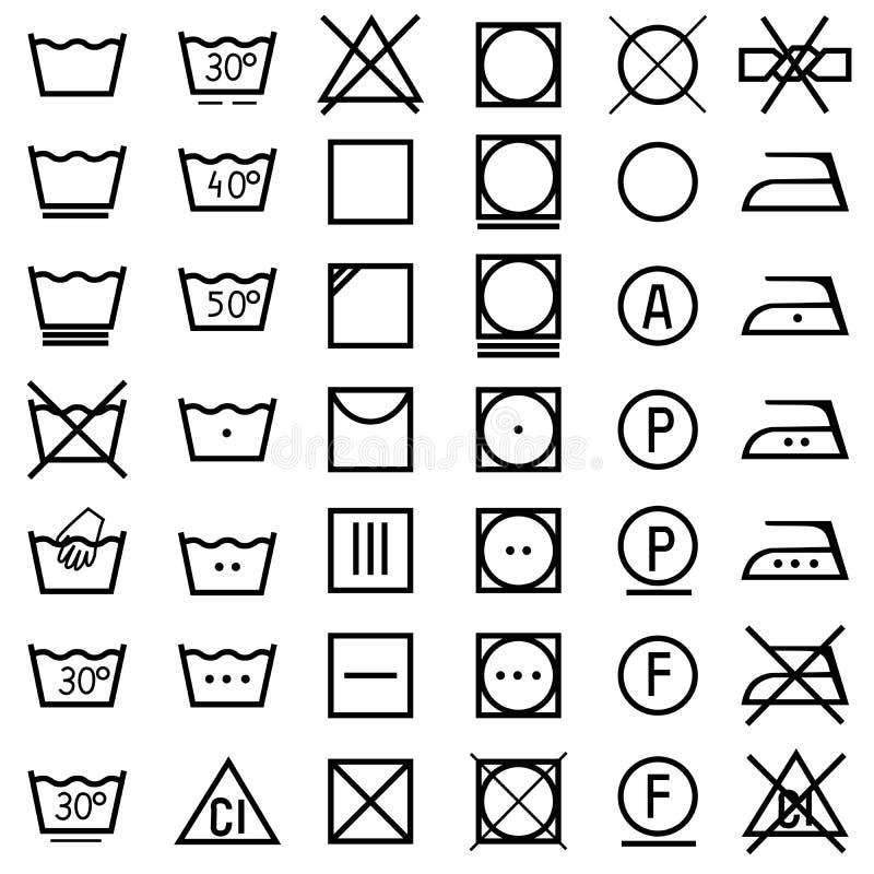 Grupo de ícones na etiqueta da roupa.