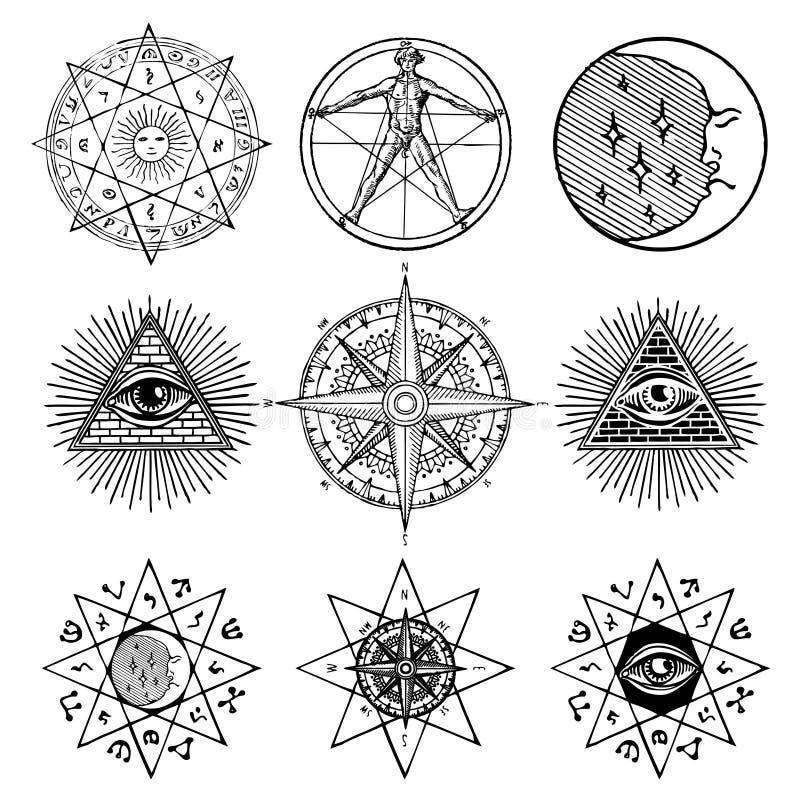 Grupo de ícones no tema da mágica, esotérico, pedreiro ilustração stock