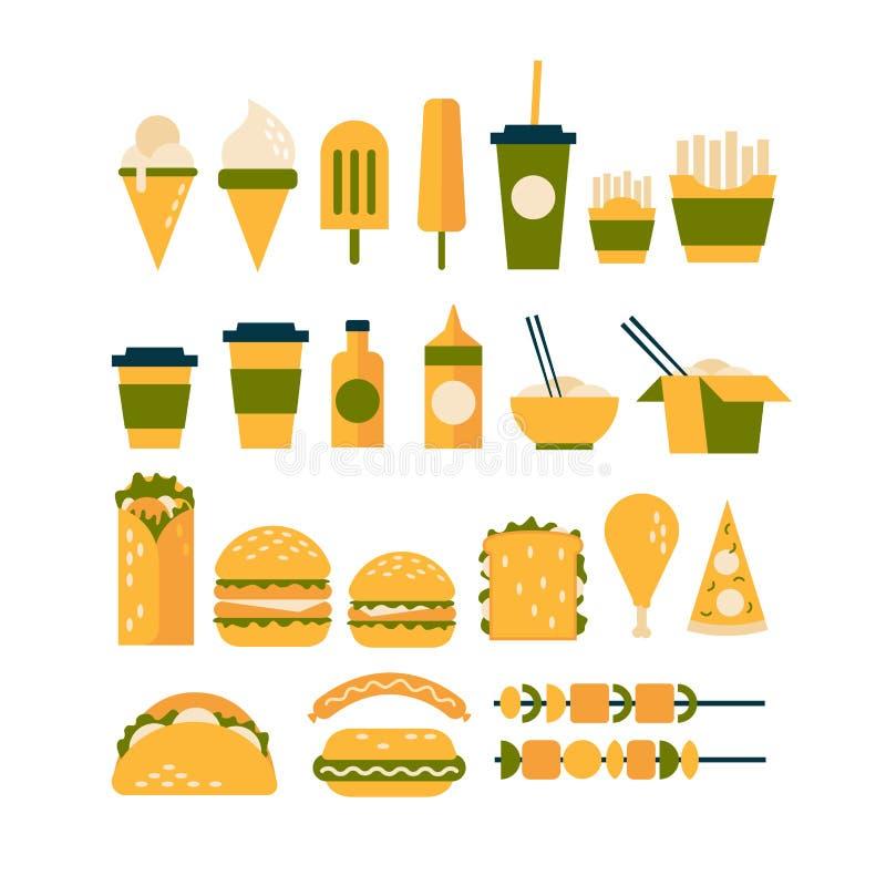 Grupo de ícones no tema do fast food ilustração do vetor