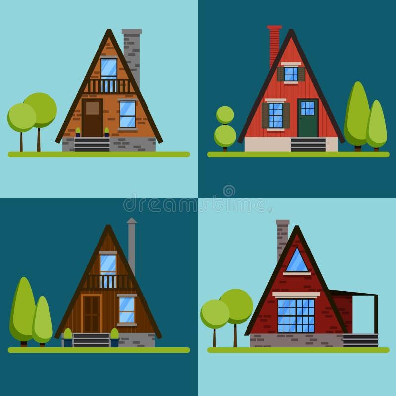 Grupo de ícones ou de símbolos da casa Tijolo triangular e casas de madeira Ilustração lisa do vetor do projeto ilustração stock