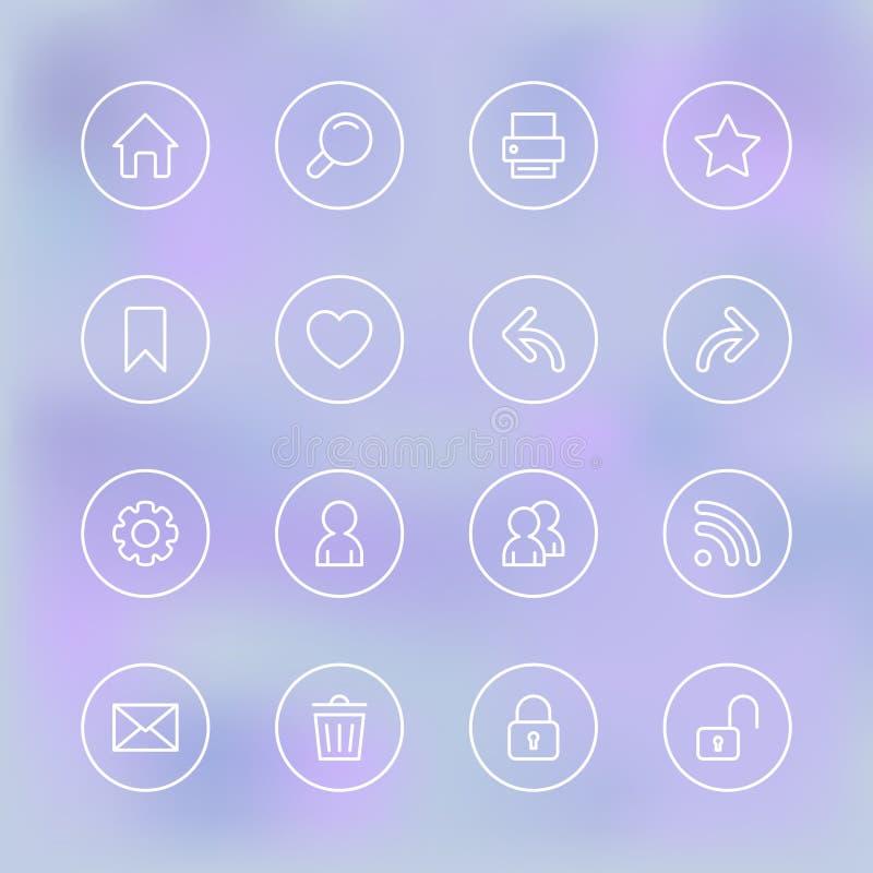 Grupo de ícones para app móvel UI, claro transparente ilustração stock