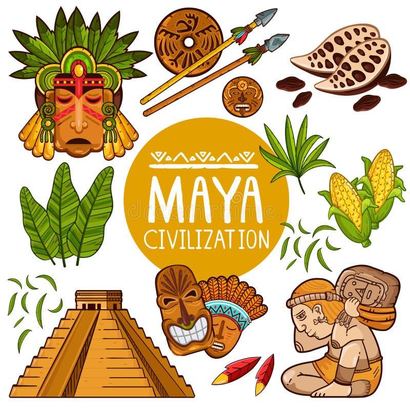 Grupo de ícones para a cultura antiga do Maya ilustração do vetor