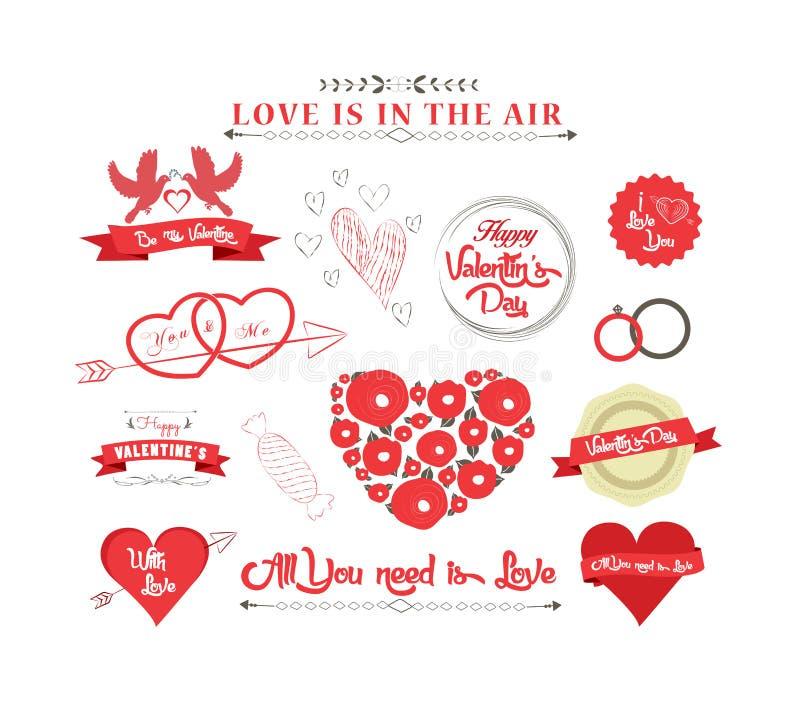 Grupo de ícones para o dia de Valentim, o dia de mães, o casamento, o amor e o romântico ilustração stock