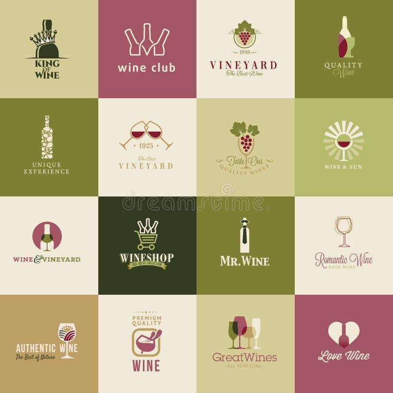 Grupo de ícones para o vinho ilustração do vetor