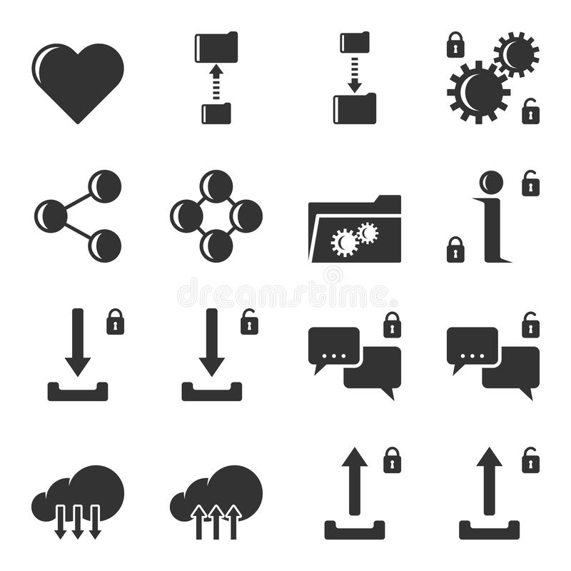 Grupo de ícones para a transmissão de dados, o armazenamento e a configuração do tipo aberto e fechado Vetor isolado ilustração stock