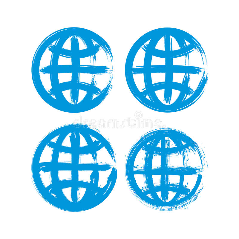 Grupo de ícones pintados à mão do globo da terra ilustração royalty free