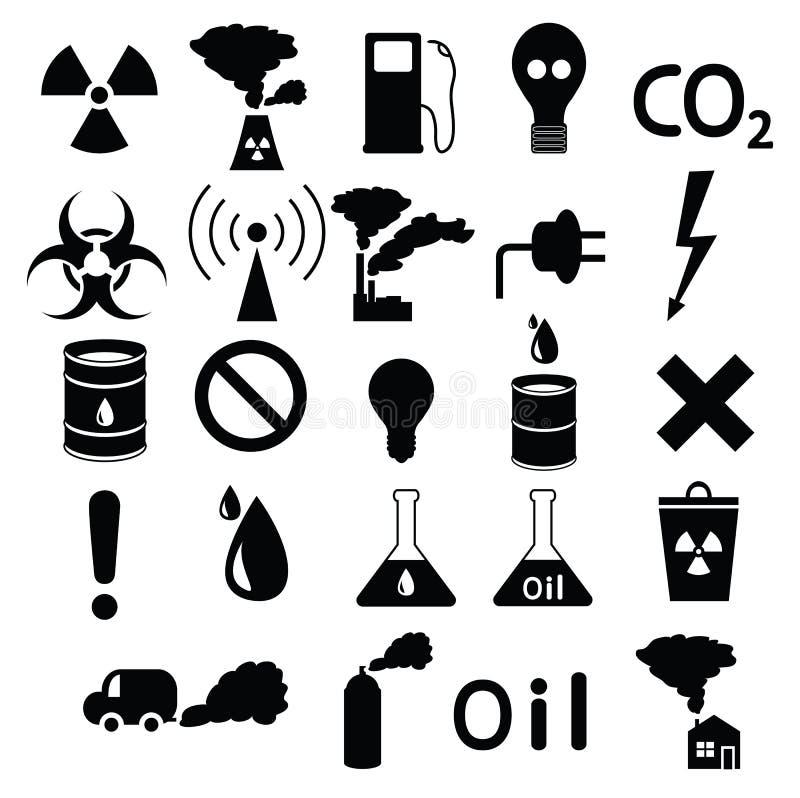 Grupo de ícones: poluição, industrial, perigosa ilustração do vetor