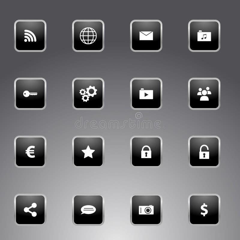Grupo de ícones pretos com esboço de prata ilustração do vetor