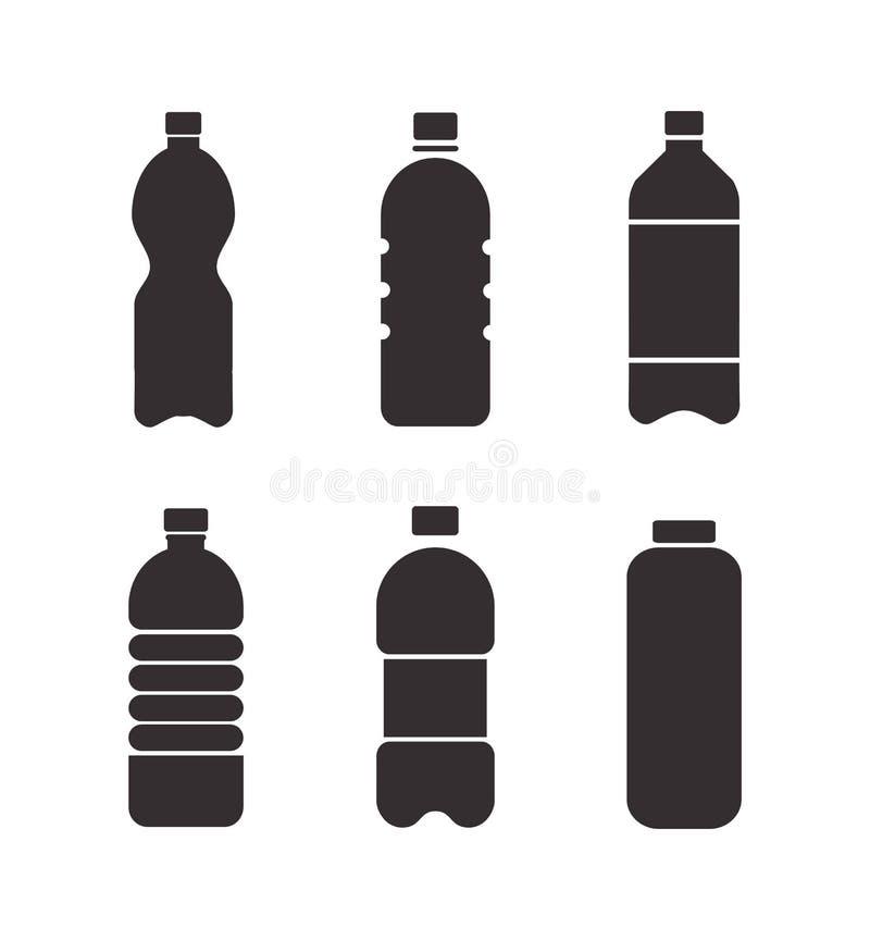 Grupo de ícones pretos da garrafa do vetor isolados no fundo branco ilustração stock