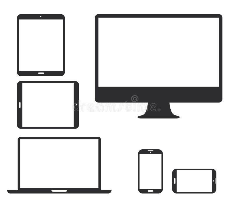 Grupo de ícones pretos da silhueta do dispositivo eletrónico. V ilustração stock