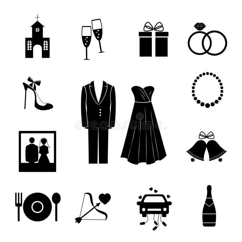 Grupo de ícones pretos do casamento da silhueta ilustração stock