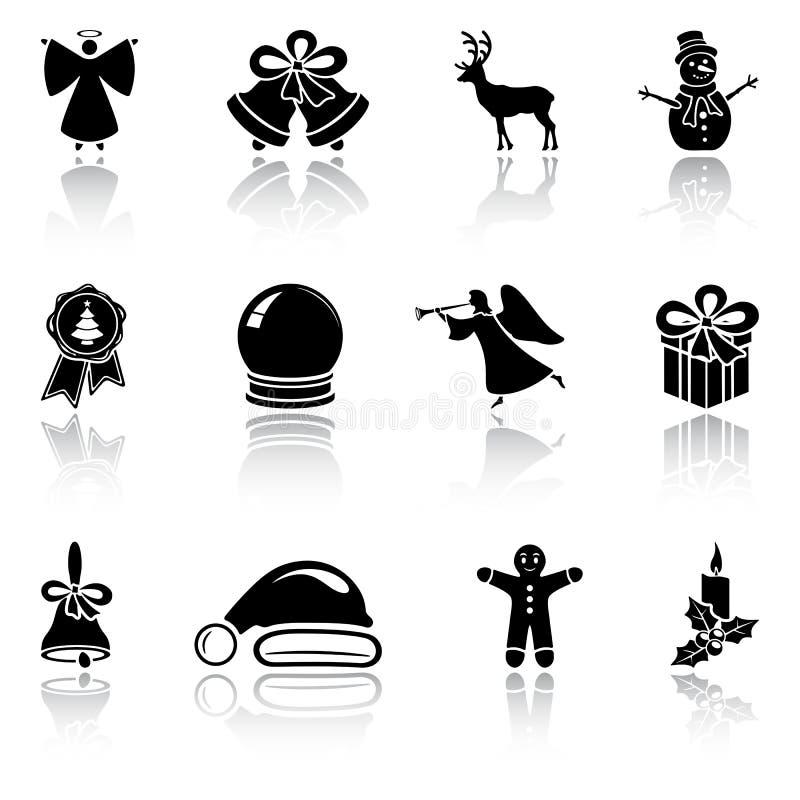 Grupo de ícones pretos do Natal ilustração stock