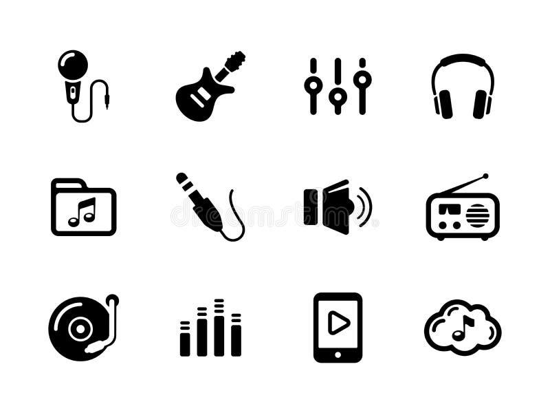 Grupo de ícones pretos do som e da música no branco ilustração stock