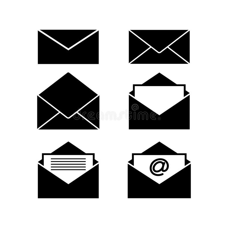 Grupo de ícones pretos dos envelopes ilustração stock