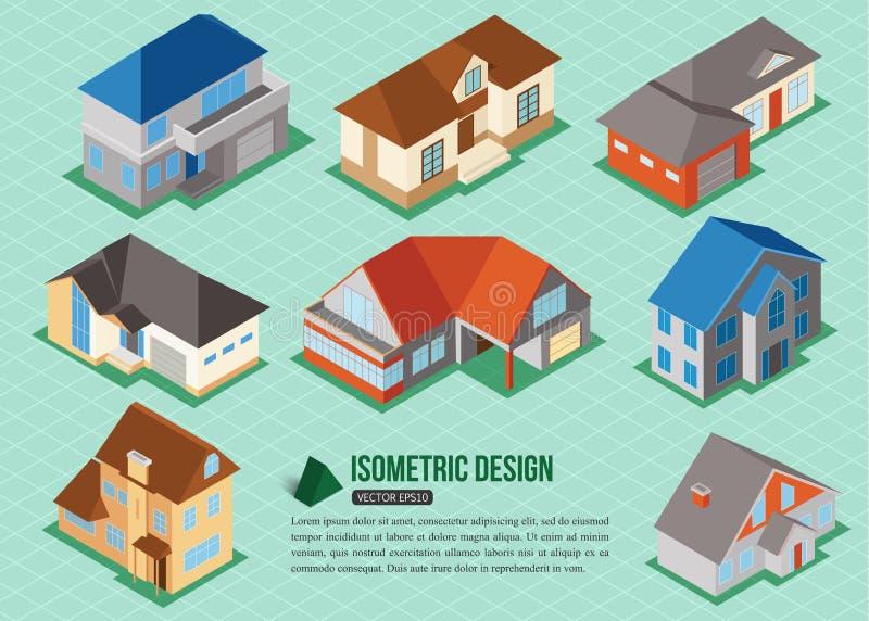 Grupo de ícones privados isométricos da casa 3d para a construção do mapa Conceito 6 dos bens imobiliários ilustração royalty free