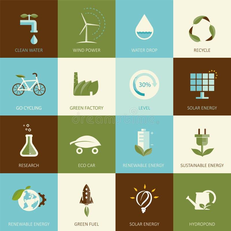 Grupo de ícones projetados lisos da ecologia ilustração royalty free