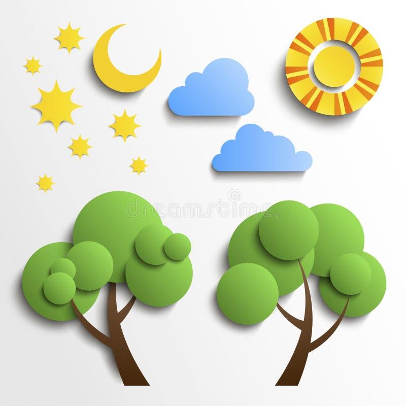 Grupo de ícones. Projeto do corte do papel. Sun, lua, estrelas,  ilustração royalty free