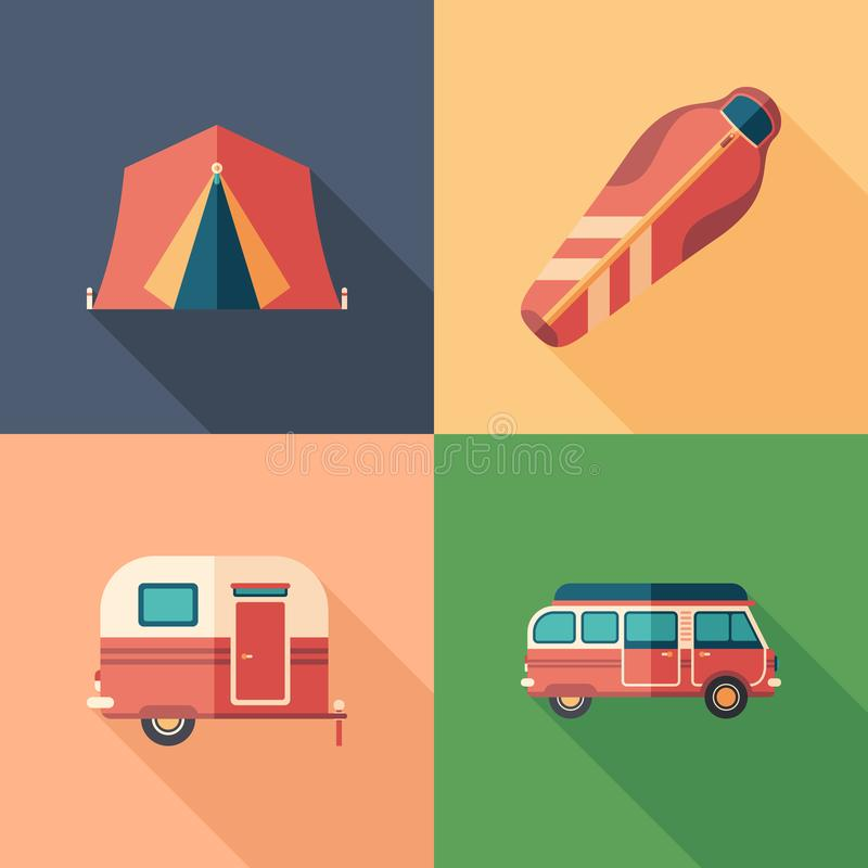 Grupo de ícones quadrados lisos de acampamento com sombras longas ilustração stock