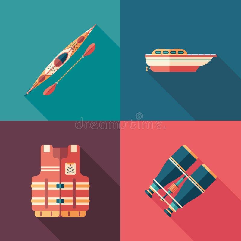 Grupo de ícones quadrados lisos dos esportes de água com sombras longas ilustração stock