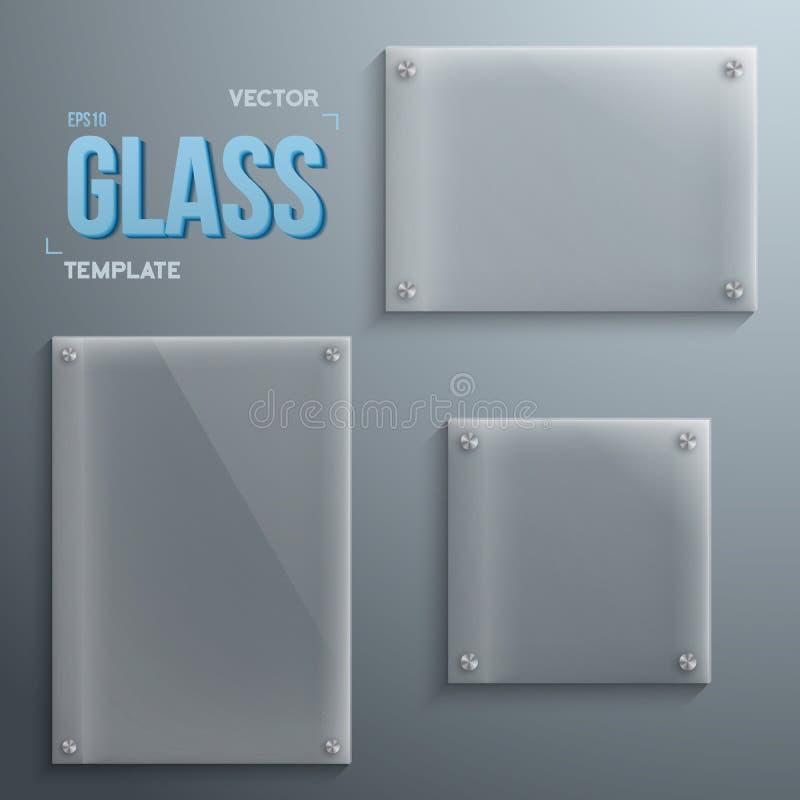 Grupo de ícones realísticos do molde da placa de vidro do vetor Vetor Eps10 ilustração do vetor