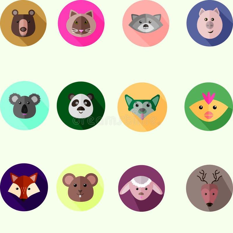 Grupo de ícones redondos com os animais selvagens e domésticos diferentes ilustração royalty free